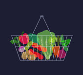 Shopping Basket/Shopping trolley with various Vegetables