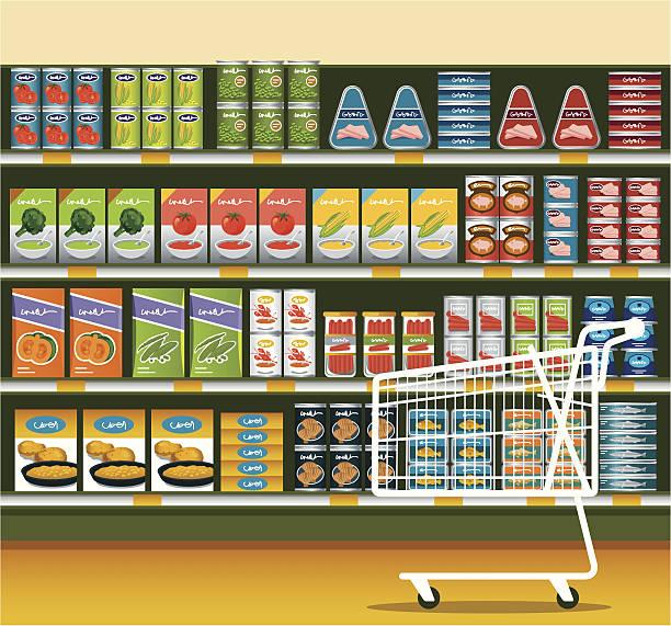 ilustraciones, imágenes clip art, dibujos animados e iconos de stock de supermercado con producto enlatado - grocery store