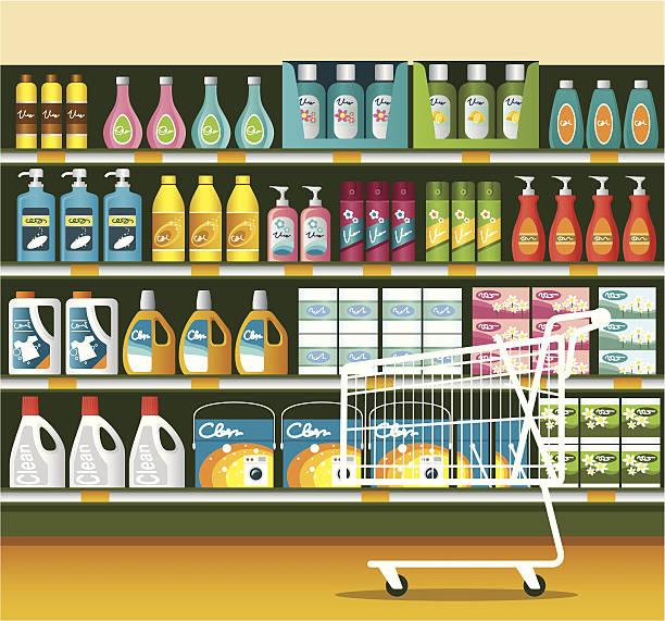 illustrazioni stock, clip art, cartoni animati e icone di tendenza di supermercato con prodotti per la pulizia di imballaggio - grocery home
