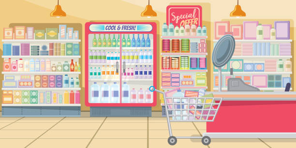 Supermarket with food shelves vector illustration Supermarket with food shelves vector illustration. Modern shop in pink color with full shopping cart at cashier. Interior illustration grocery aisle stock illustrations