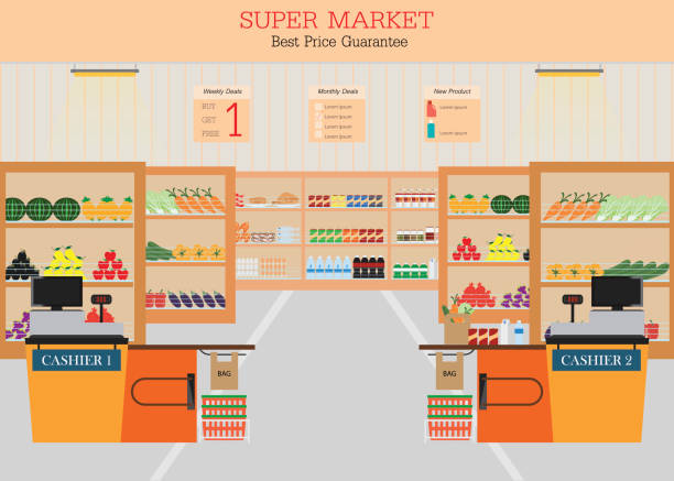 Supermarket with fresh food on shelves Supermarket with fresh food on shelves and counter cashier, Flat vector illustration. grocery aisle stock illustrations