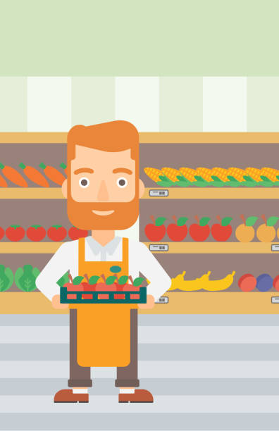 Best Grocery Store Employee Illustrations, Royalty-Free ...