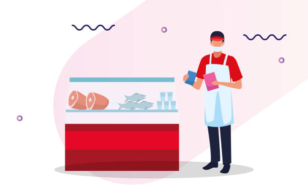 supermarket worker with face mask - essential workers stock illustrations