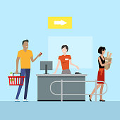 Operations in supermarket vector. Flat style. Buying products in grocery store. Cashier serves customers on counter desk equipment. Picture for retail companies, shopping and payment services ad.