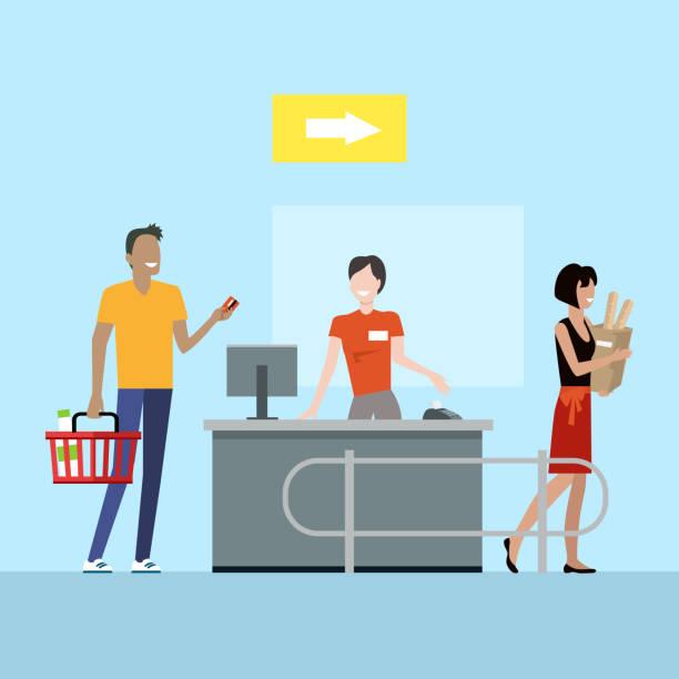 ilustrações de stock, clip art, desenhos animados e ícones de supermarket working process concept illustration. - supermarket worker