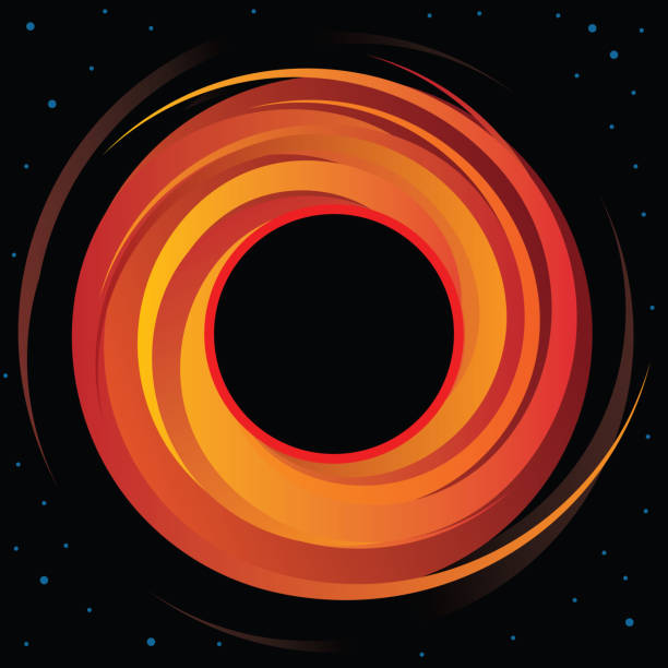 Supermassive Black Hole Vector Graphic Sharp and clear vector illustration of a super massive black hole in deep space with bold event horizon and distant stars black hole stock illustrations