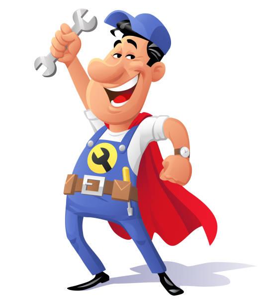 super-mechaniker - handwerker stock-grafiken, -clipart, -cartoons und -symbole