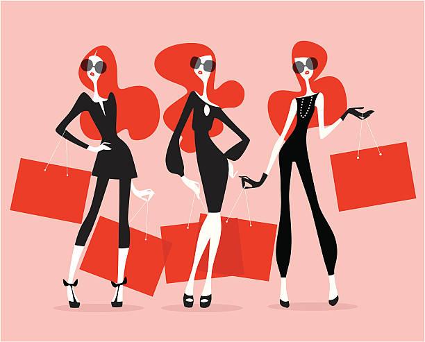スーパーモデル(ショッピング) - 女性のファッション点のイラスト素材/クリップアート素材/マンガ素材/アイコン素材