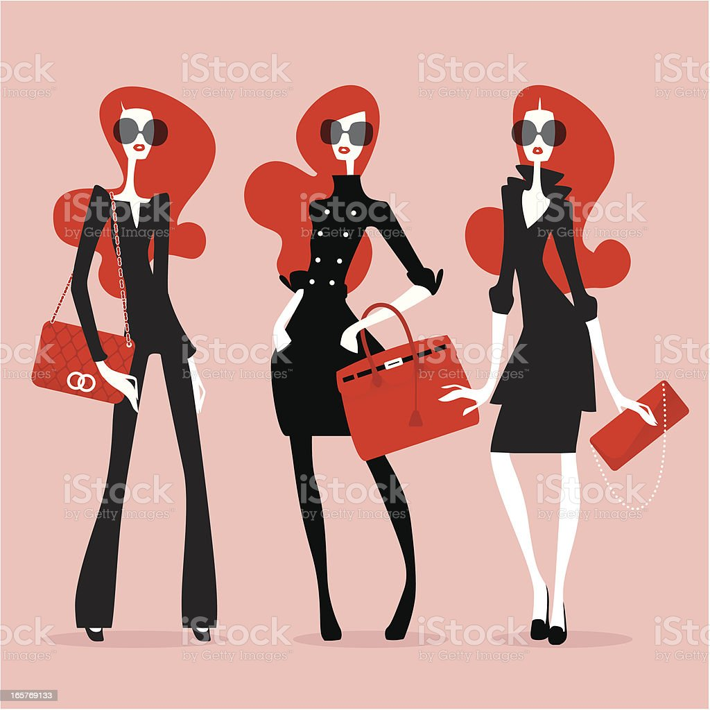 Supermodels (High Fashion) vector art illustration