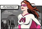 SuperMom does the school run.