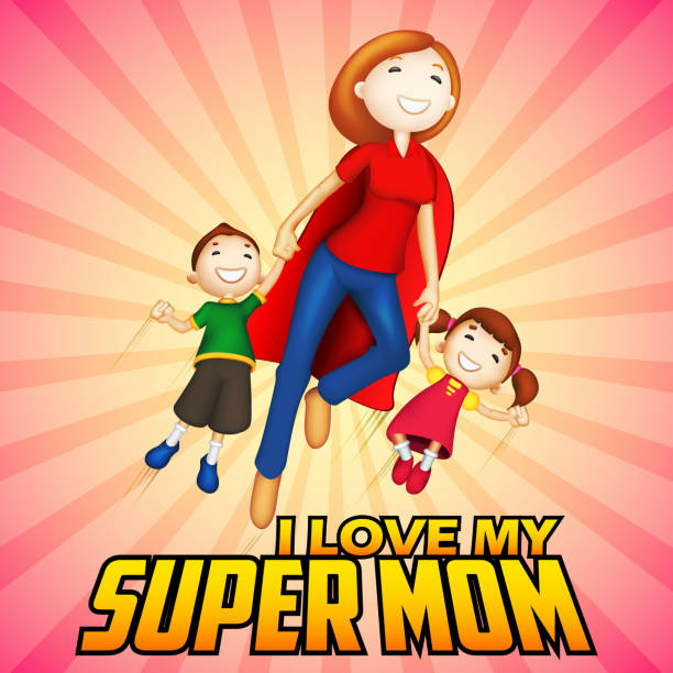 bildbanksillustrationer, clip art samt tecknat material och ikoner med supermom with kids in happy mother's day card - superwoman barn