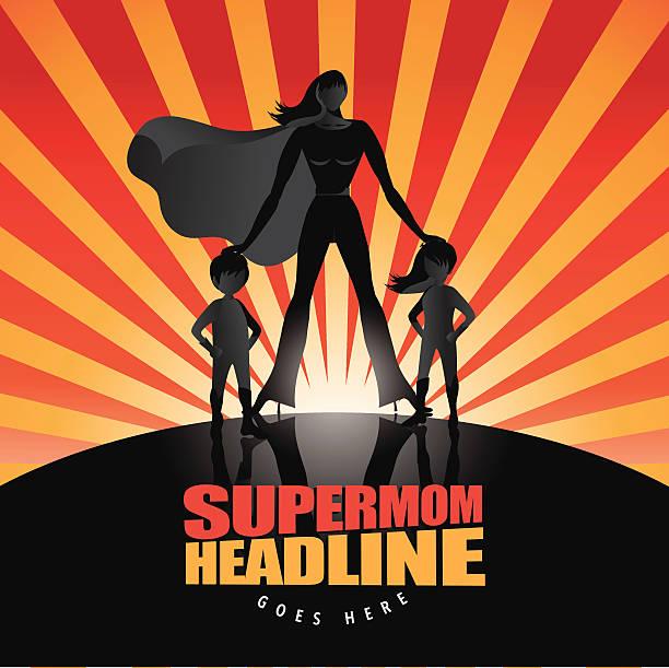 illustrations, cliparts, dessins animés et icônes de supermom avec deux enfants en arrière-plan - femmes actives