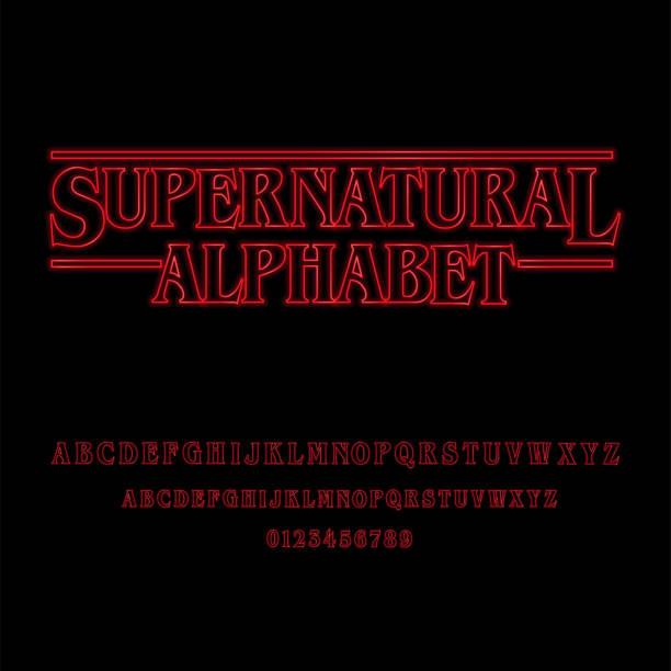 ilustrações de stock, clip art, desenhos animados e ícones de supernatural alphabet with red glowing letters - objeto manufaturado