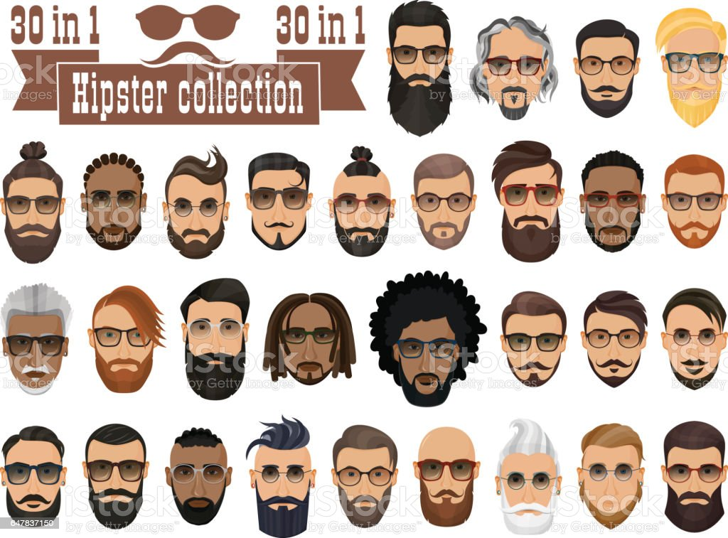 Superset of 30 hipsters bearded men with different hairstyles, mustaches, beards isolated on white background. vector art illustration