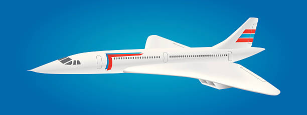 Supersonic jet aircraft flying Concorde-like jet airplane flying through the sky supersonic airplane stock illustrations