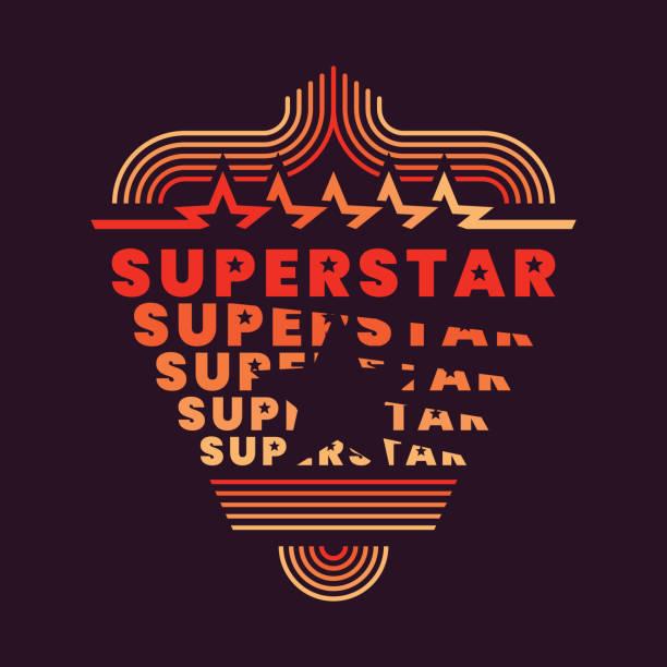 """stockillustraties, clipart, cartoons en iconen met """"superstar"""" achtergrondontwerp in retro stijl. - seventies"""