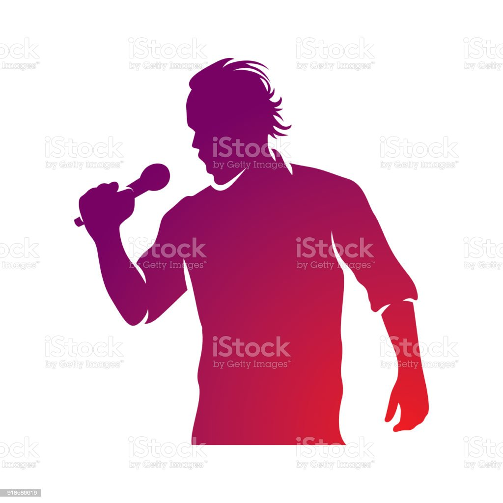 Superstar performance vector illustration, person with microphone in hand is singing live or karaoke. Emcee show concept. vector art illustration