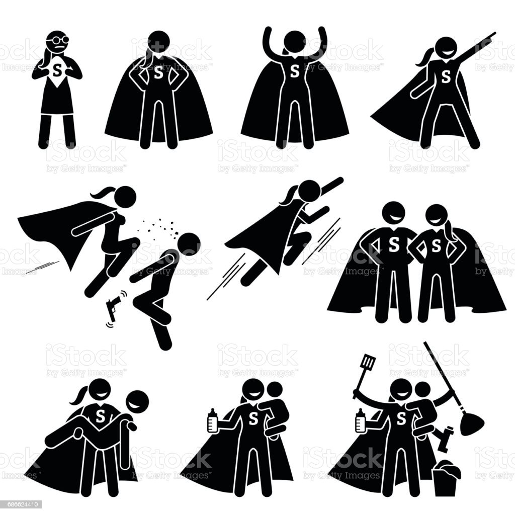 Superwoman Heroine Female Superhero. vector art illustration