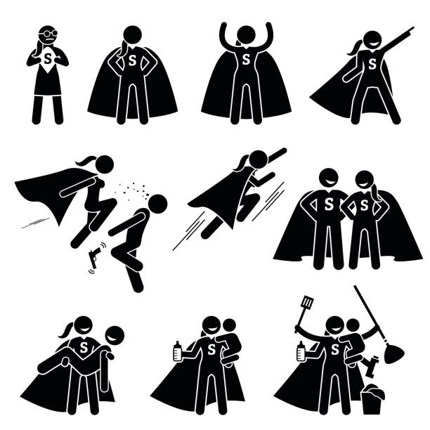 powerfrau heldin weiblichen superhelden. - superwoman stock-grafiken, -clipart, -cartoons und -symbole