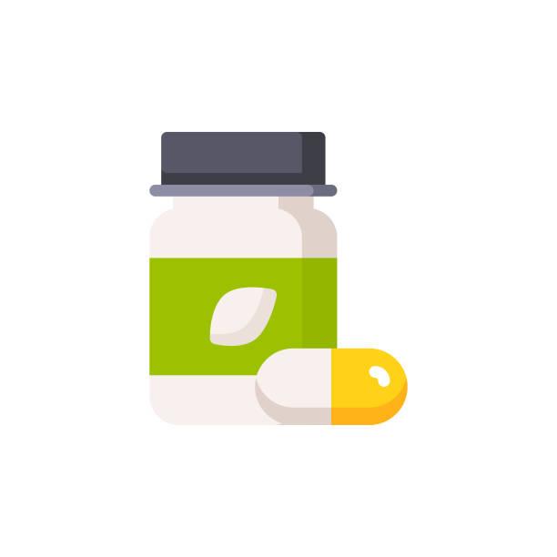 Supplements, Vitamins Flat Icon. Pixel Perfect. For Mobile and Web. Supplements, Vitamins Flat Icon. nutritional supplement stock illustrations