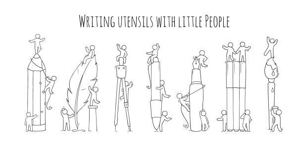 zubehör set mit kleinen leute arbeiten. - filzarbeiten stock-grafiken, -clipart, -cartoons und -symbole