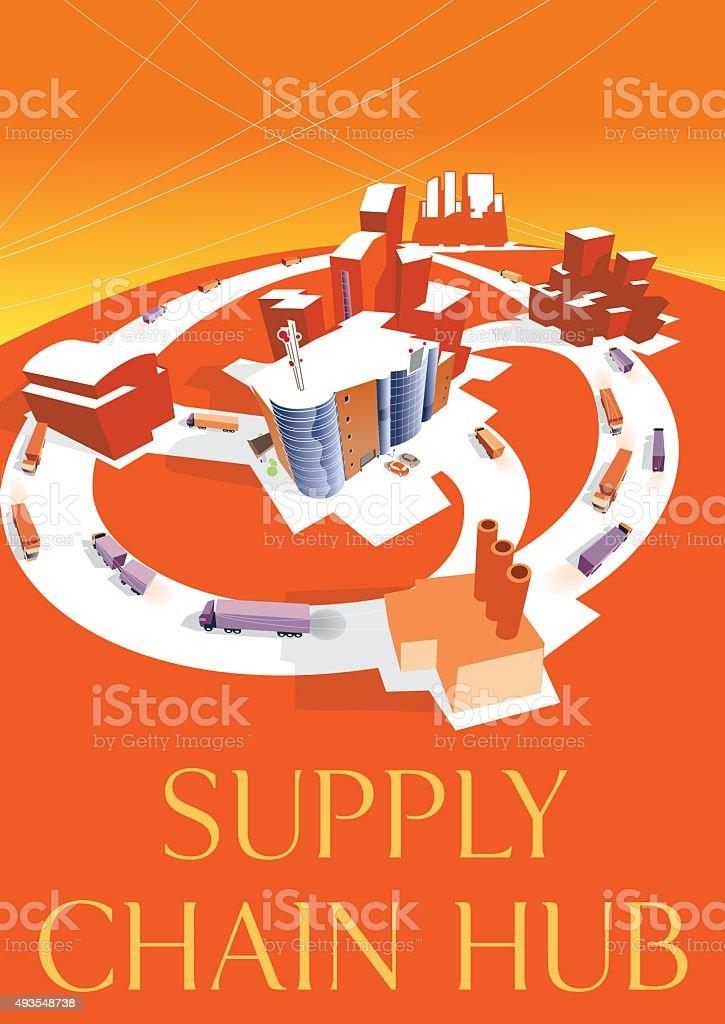 Supply chain HUB. Vector vector art illustration