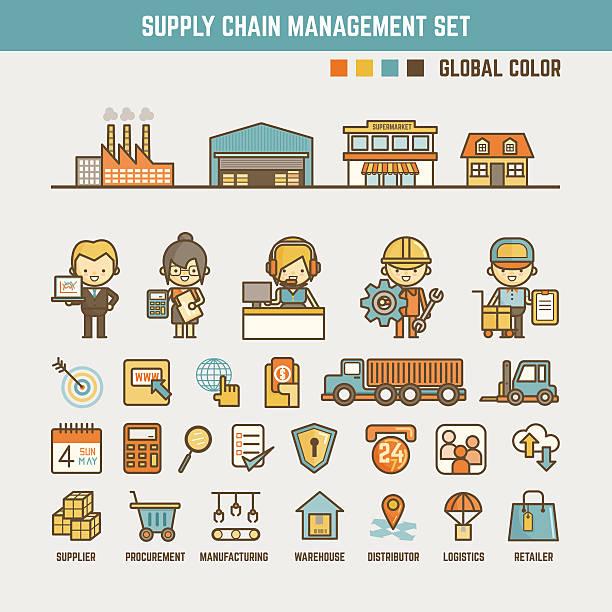 ilustraciones, imágenes clip art, dibujos animados e iconos de stock de infografía elementos de la cadena de suministro - suministros escolares