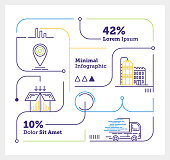 Vector Infographic Line Design Elements for Supply Chain