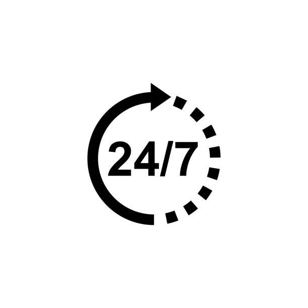ilustrações, clipart, desenhos animados e ícones de apoie o ícone 24/7 no vetor liso do estilo para apps, ui, web site. ilustração preta do vetor do ícone - dia do cliente