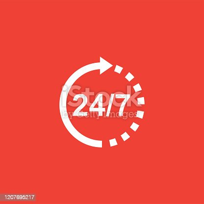 Support 24-7 Icon On Red Background. Red Flat Style Vector Illustration.