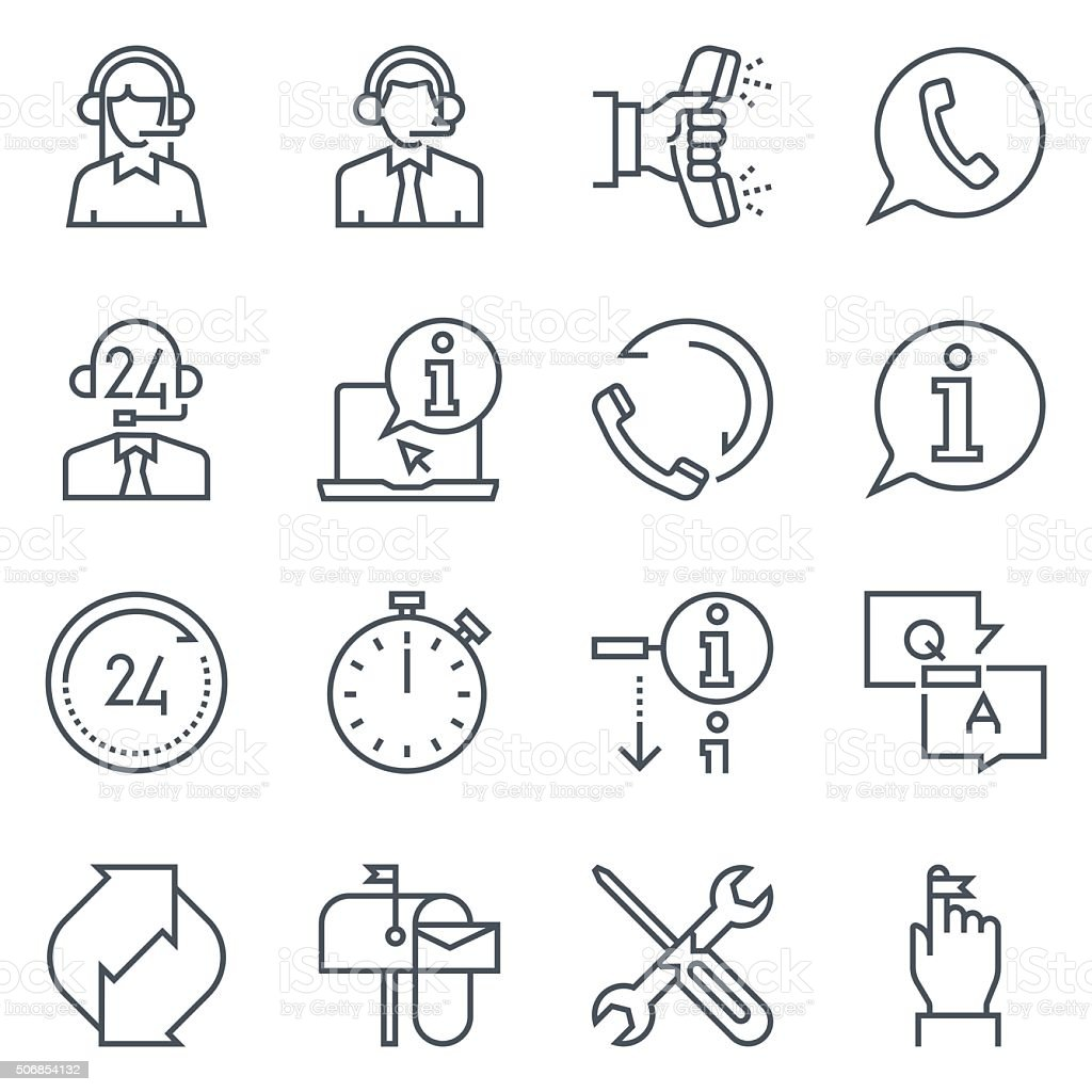 Support and tele market icon set vector art illustration
