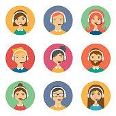 Support avatars flat style