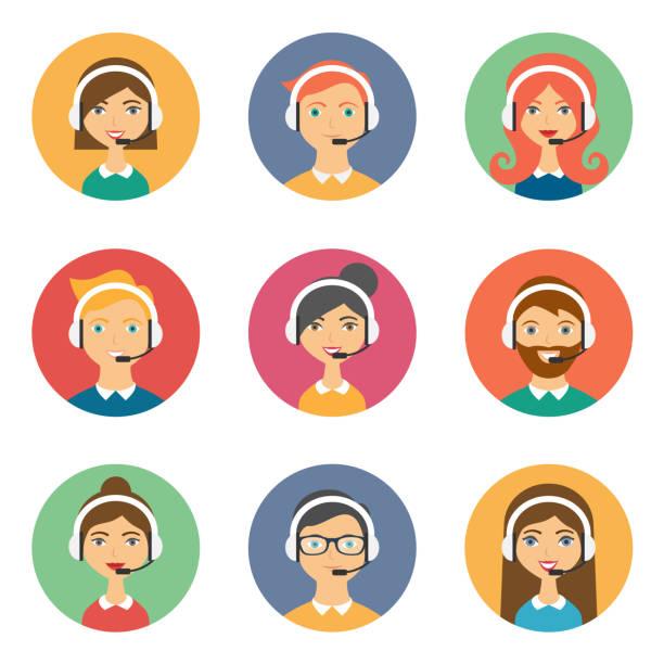 illustrations, cliparts, dessins animés et icônes de prend en charge les plat style avatars - centre d'appels