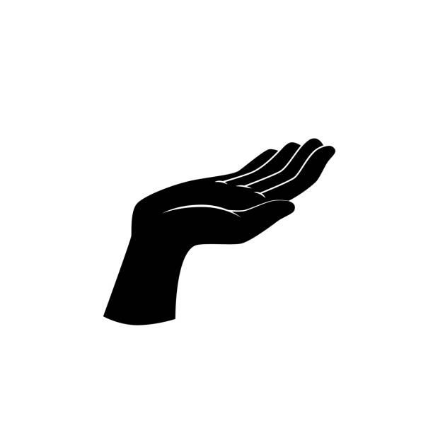 support, beg hand gesture. vector icon. - dłoń stock illustrations