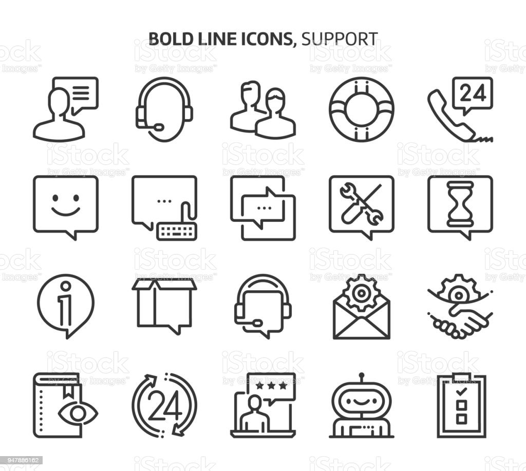 Support, bold line icons vector art illustration
