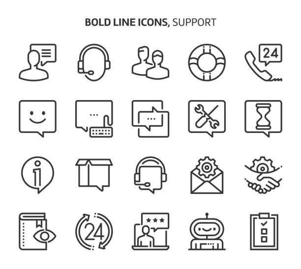 illustrations, cliparts, dessins animés et icônes de soutien, icônes de la ligne en gras - centre d'appels