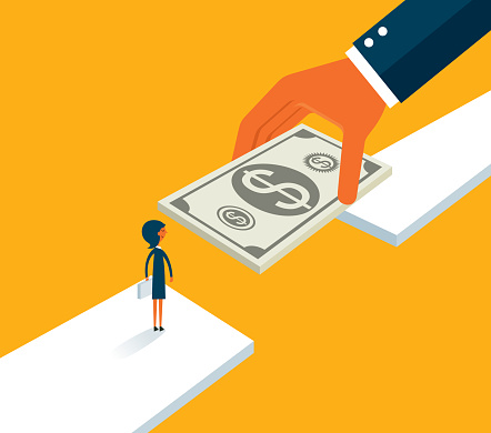Support, huge hands connect the bridge to help the businesswoman reach the goal stock illustration