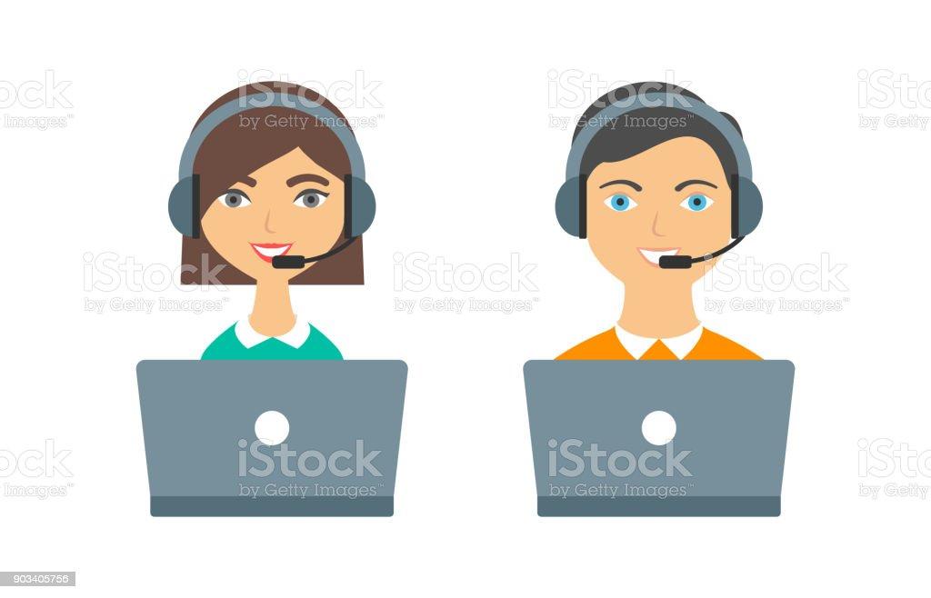 Ayuda, call center operadores mujer y hombre con auriculares y ordenadores portátiles - ilustración de arte vectorial