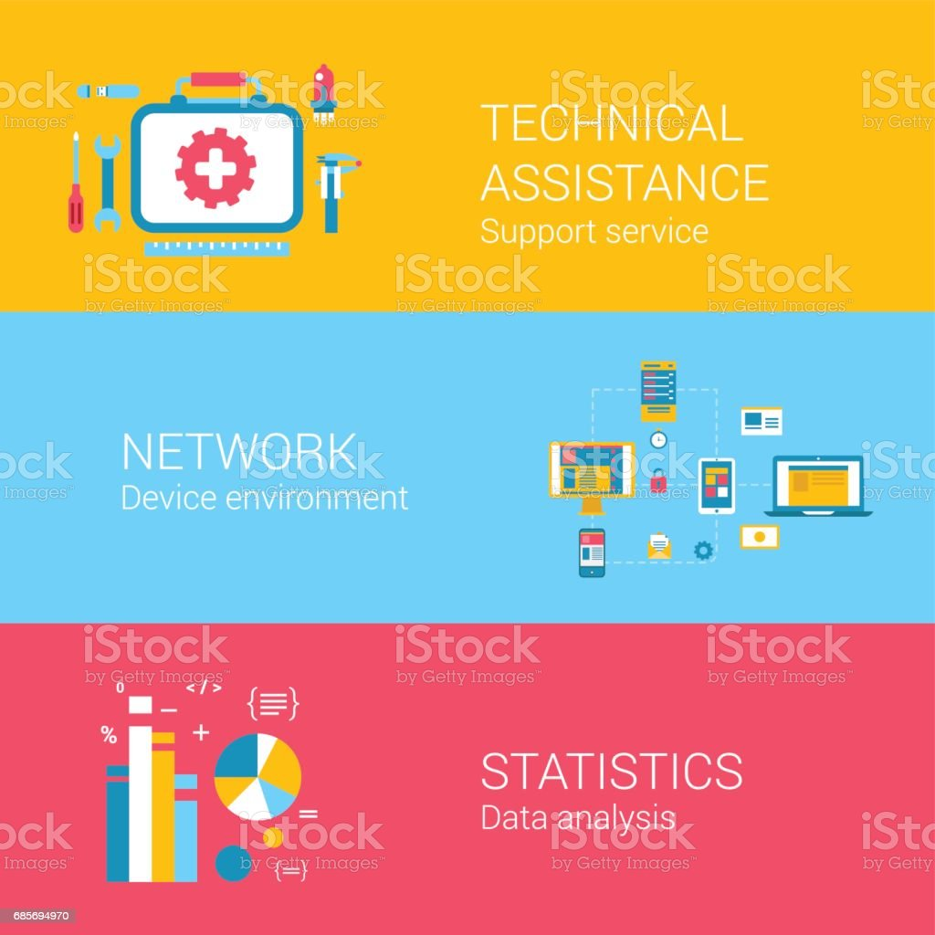 Support concept flat icons set of technical assistance network device environment statistics data analysis and vector web banners illustration print materials website click infographics elements collection. ロイヤリティフリーsupport concept flat icons set of technical assistance network device environment statistics data analysis and vector web banners illustration print materials website click infographics elements collection - イラストレーションのベクターアート素材や画像を多数ご用意