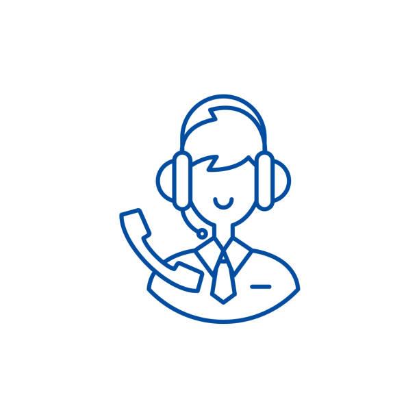 stockillustraties, clipart, cartoons en iconen met support consultant lijn icon concept. support consultant platte vector symbool, teken, outline illustratie. - call center