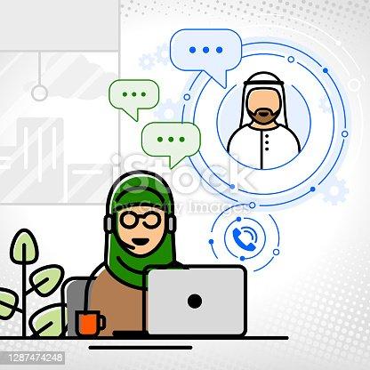 istock Support, customer service, online advisor, muslim, arab african ethnicity 1287474248