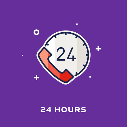 24H Support Flat Style Line Icons, Vector Symbol Illustration.