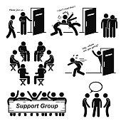 A set of human pictogram representing support group situation and scenario.