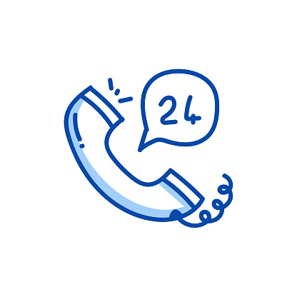 24H Support Hand Drawn Line Icon and Sketch Design