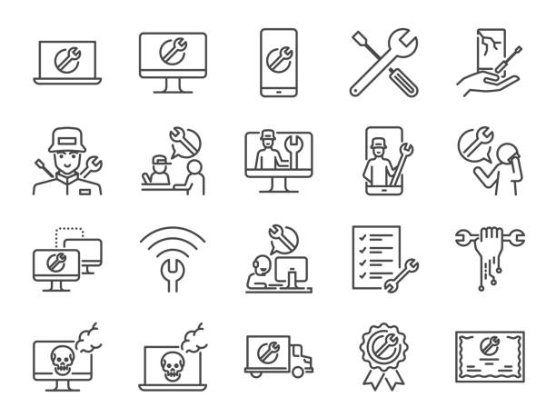 IT support icon set. Included the icons as tech support, technician, broken computer, mobile, technical help desk, onsite services and more. IT support icon set. Included the icons as tech support, technician, broken computer, mobile, technical help desk, onsite services and more. damaged stock illustrations