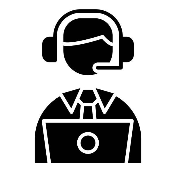 illustrazioni stock, clip art, cartoni animati e icone di tendenza di support icon, vector illustration, business glyph - organizzatore della festa