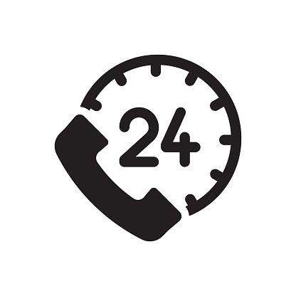 24H Support Icon, Vector Symbol Illustration.