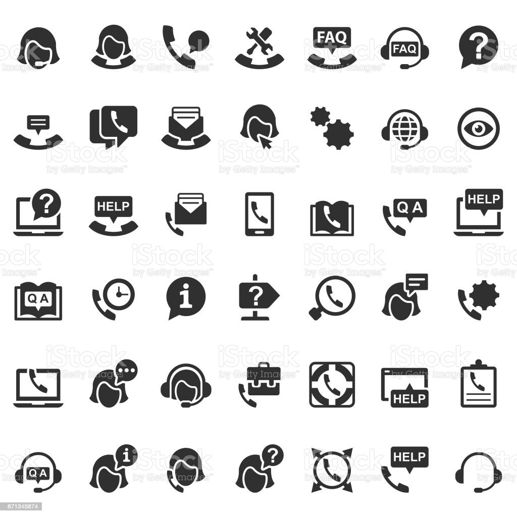 Support icons vector art illustration