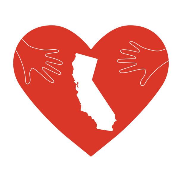 stockillustraties, clipart, cartoons en iconen met ondersteuning illustratie voor liefdadigheidswerk donatie en opluchting na bosbranden in zuid-californië, los angeles county. helping hands, hart vorm staat de kaart en silhouet. tekst: worden veilig californië. - illustraties van bosbrand