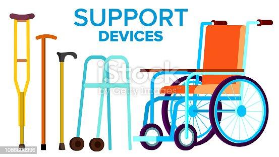 istock Support Items Vector. Walk Stick, Wheelchair. Isolated Flat Cartoon Illustration 1086606996